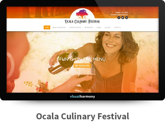 Ocala Culinary Festival Responsive Website Design and Development Project Browser Mockup Image