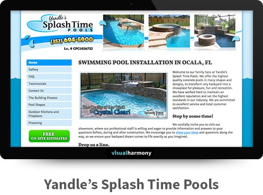 Yandle's Splash Time Pools Responsive Website Design and Development Project Browser Mockup Image