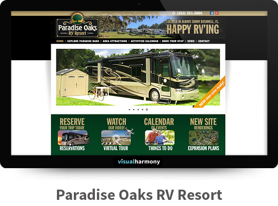 Paradise Oaks RV Responsive Website Design and Development Project Browser Mockup Image