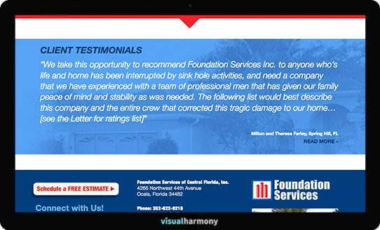 foundation services project screen client testimonials