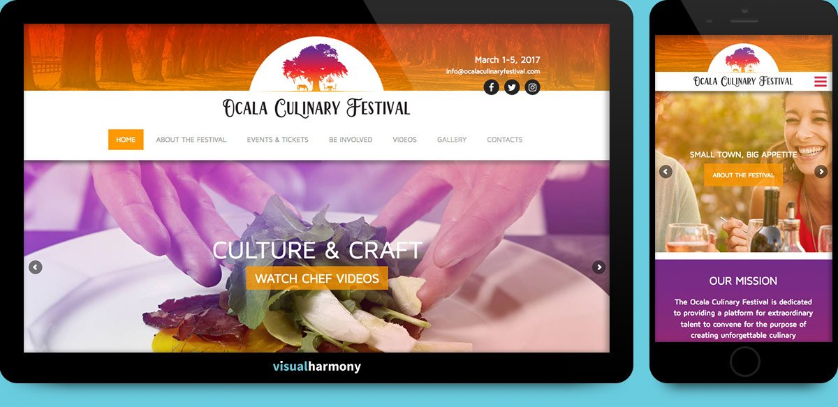 ocala culinary festival browser mockup