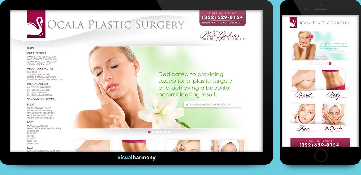 ocala plastic surgery browser mockup