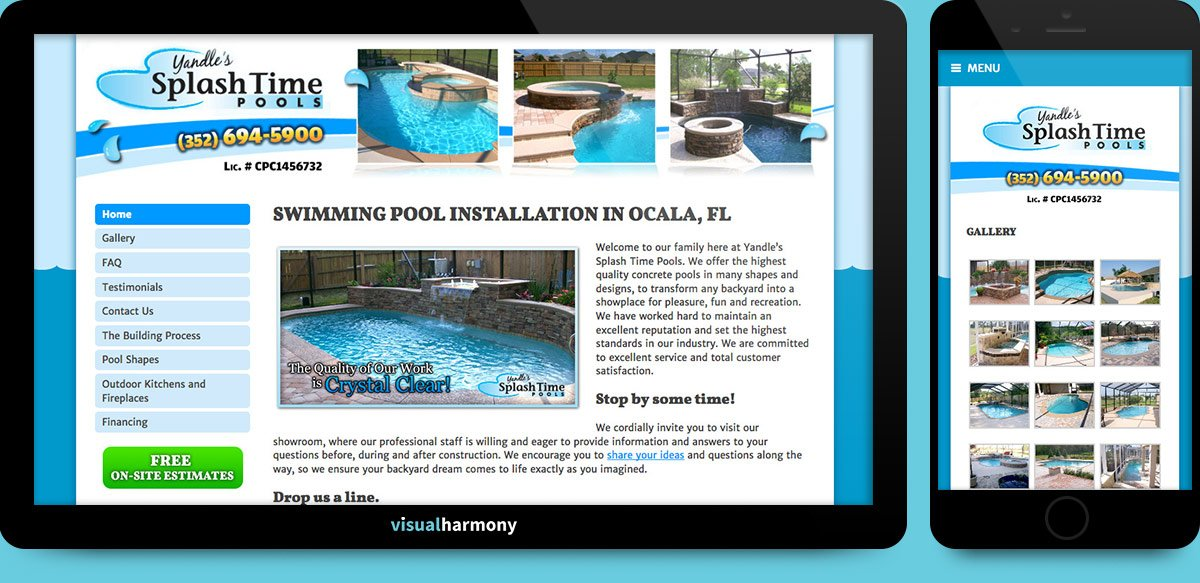 yandles splash time pools browser mockup