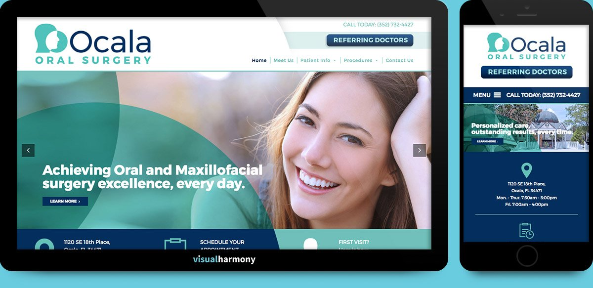 ocala oral surgery web project browser mockup